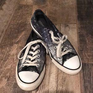 80205f69876 Converse sequin ombré silver blue tennis shoes 8